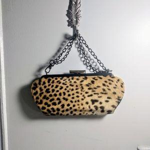 Cheetah Calf-hair Clutch with Metal Chain